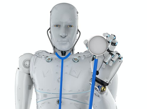 a humanoid robot holds a stethoscope up toward the viewer