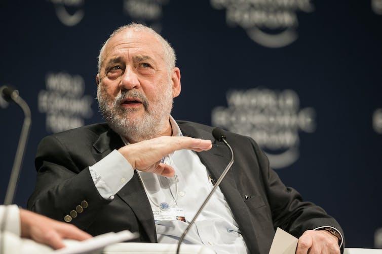 Joseph E. Stiglitz, professor at Columbia University and winner of the 2001 Nobel Prize for economics, speaks at a World Economic Forum even in 2015.