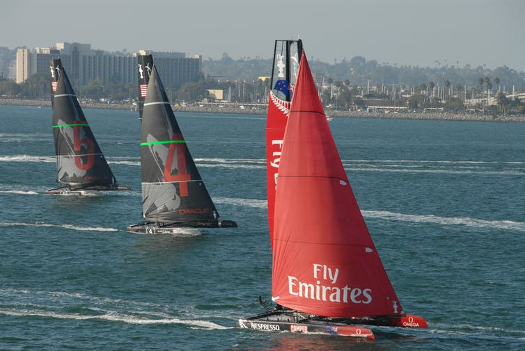 Three yachts racing in the waters off San Diego, US.