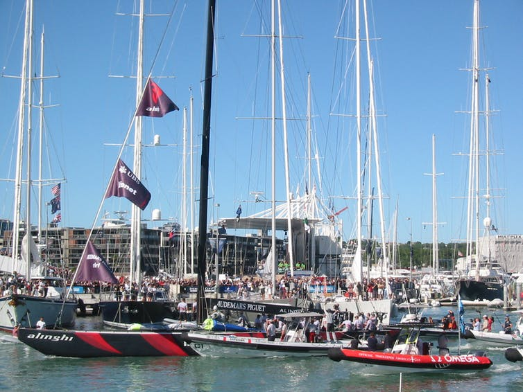 Yachts and crowds in the Auckland harbour waterfront