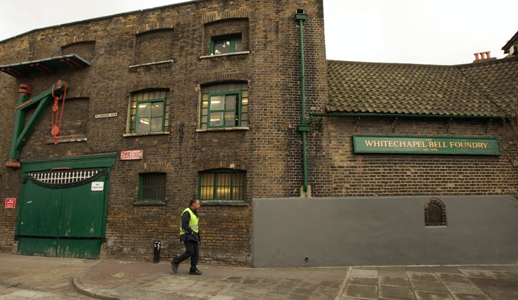 The outside of the brick building that houses the Whitechapel Bell Foundry.