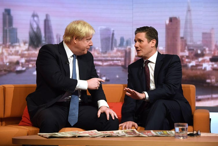 Boris Johnson and Keir Starmer appear together on a BBC show in 2016.