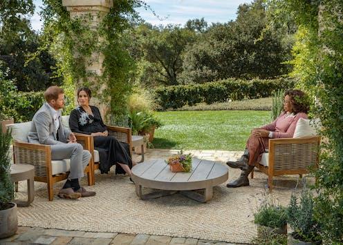 Le prince Harry et Meghan Markle lors de leur entretien avec la journaliste américaine Oprah Winfre