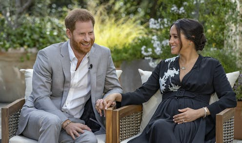Still of Harry and Meghan's Oprah interview.