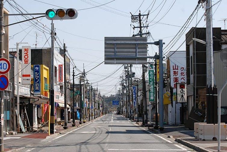 An empty street in Japan.