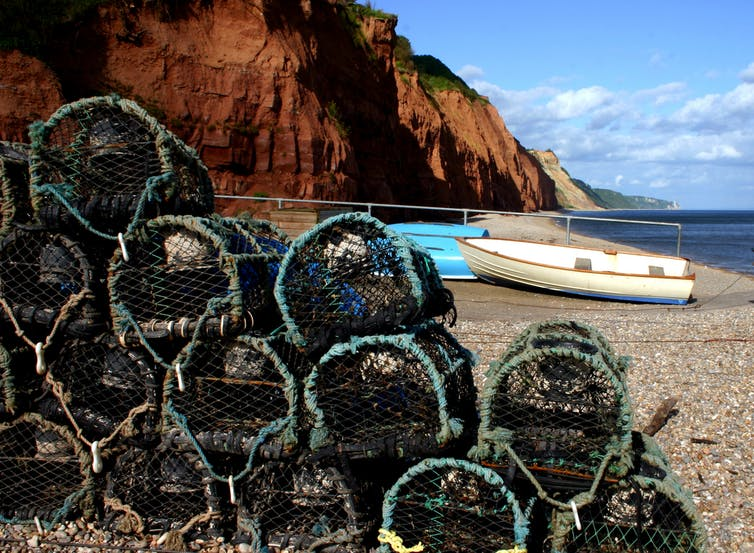 Crab baskets on a beach in Devon, UK.