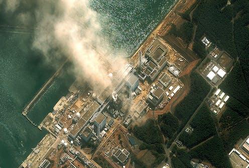 Satellite image of smoke rising from the Fukushima Daiichi plant.