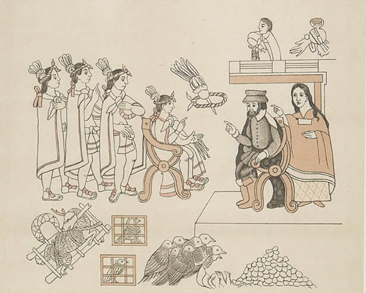 Four Aztec men, a Spanish man, and an Aztec woman.
