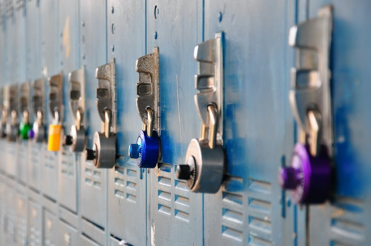 Close up of school lockers.