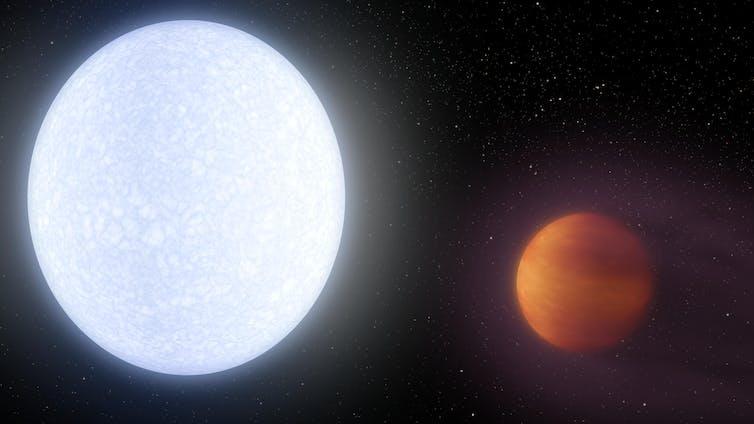 Artist''s impression of Kelt b orbiting its parent star.