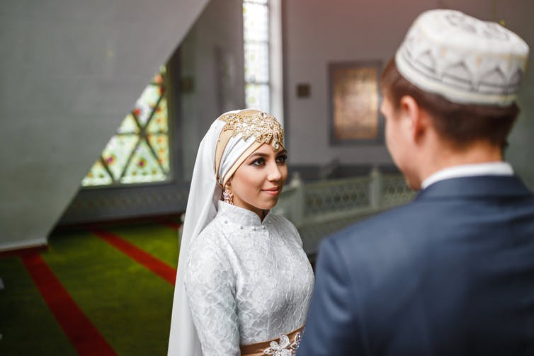 Muslim nikah Wedding of a couple in the mosque