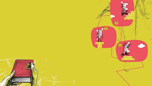 Ilustración que muestra un libro como un mando de control de pantallas
