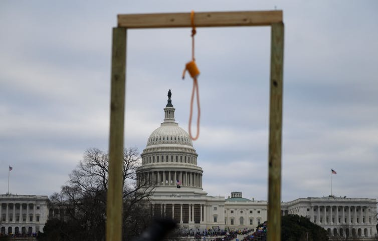 A gallows with a noose hanging on it at the Capitol Building in Washington, D.C.