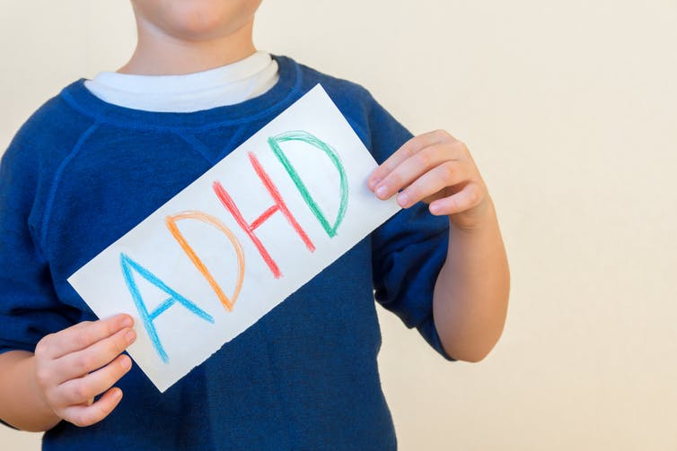 Anonymous child holding up ADHD label