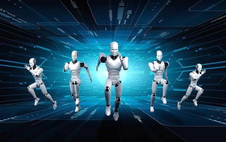 Five robot runners against a digital background