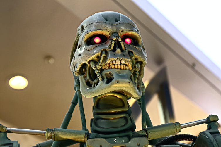 The head of a killer robot from the Terminator films