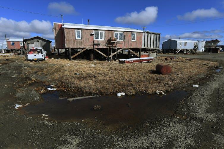 A storm-battered coastal home