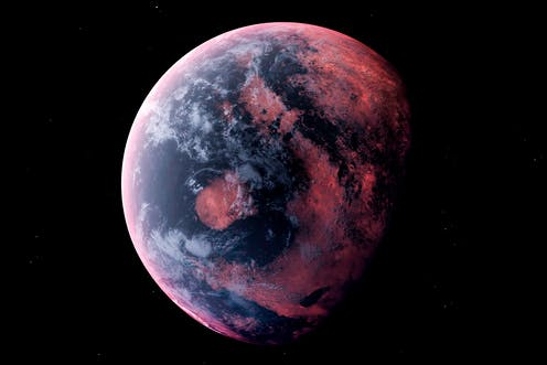 A large planet with red sections like oceans