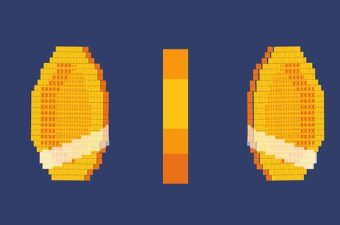 An array of pixelated coins.
