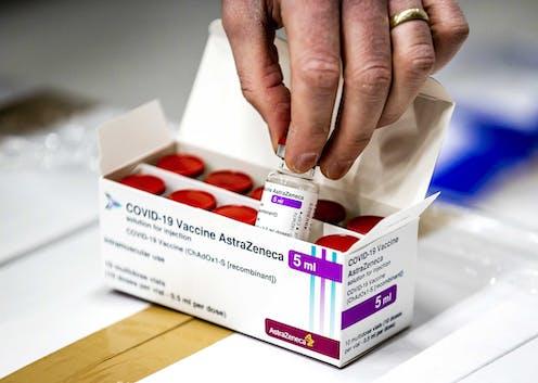 A box of vials of the AstraZeneca COVID-19 vaccine