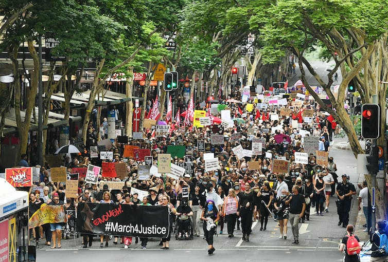 Protesters march in Brisbane.