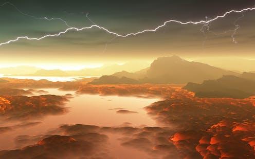 An artist's impression of the hostile atmosphere of Venus.