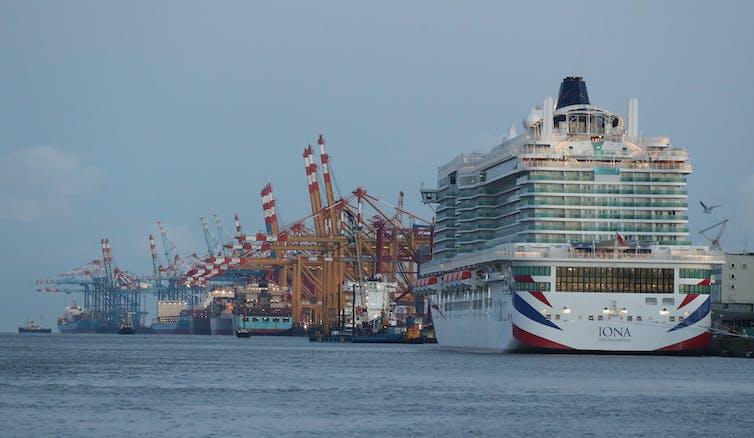 P&O Cruises' new ship the Iona, moored