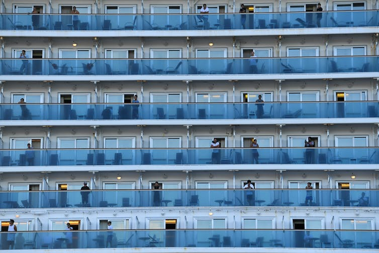 Crew onboard the Ruby Princess