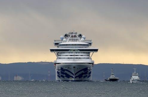 Cruise ship Diamond Princess under stormy skies