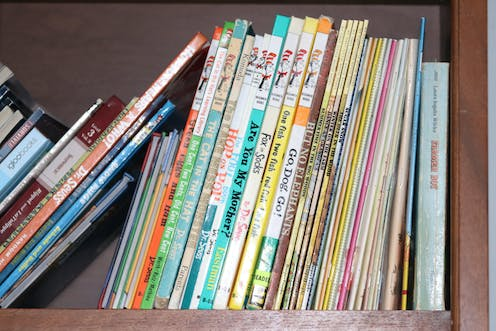 A book shelf filled with Dr. Suess books