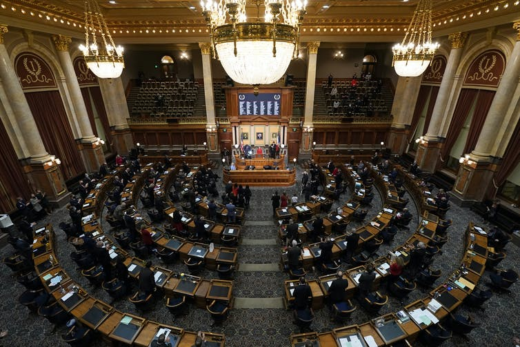 A joint session of the Iowa Legislature.