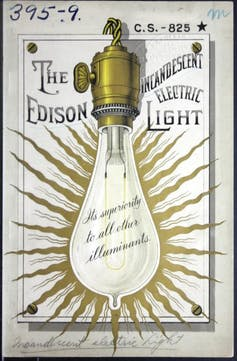 A graphical representation of an early electric incandescent lightbulb