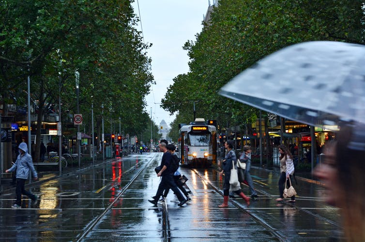 Rainy day on Swanston St, Melbourne