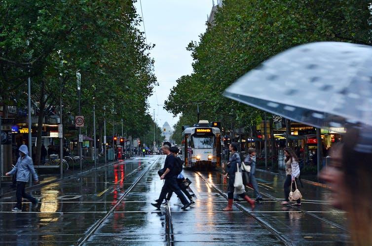 Rainy day on Swanston St, Melbourne
