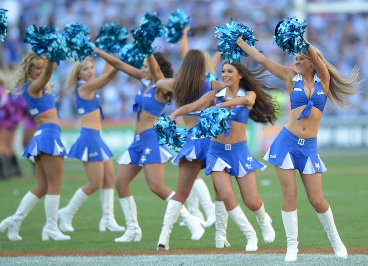 Cheerleaders in blue