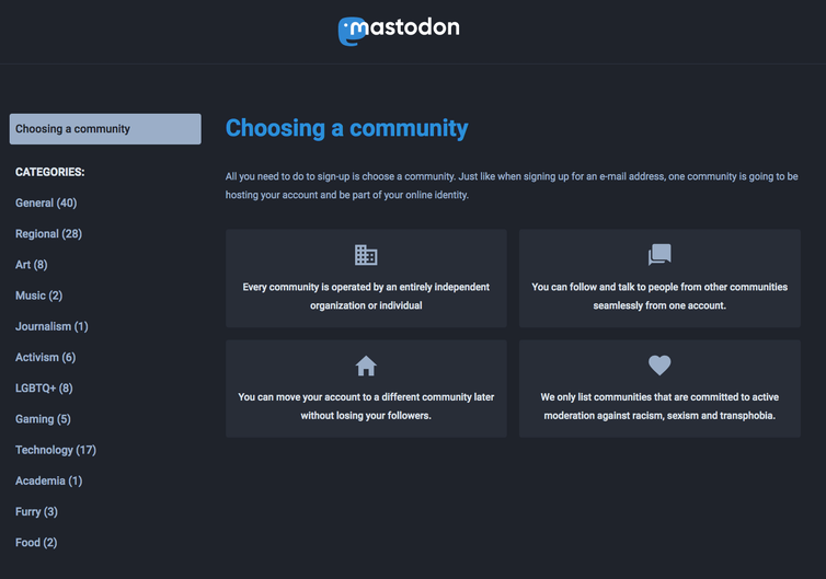 Mastadon's communities sign-up page