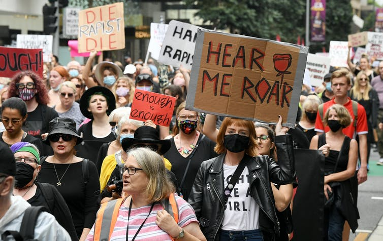 Protesters marching for women's safety in Sydney.