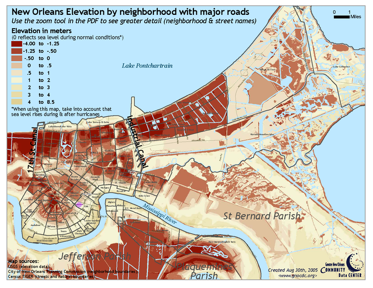 Map of New Orleans with shaded areas below sea level.