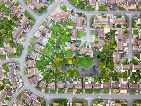 A typical suburban neighbourhood in the UK viewed from above