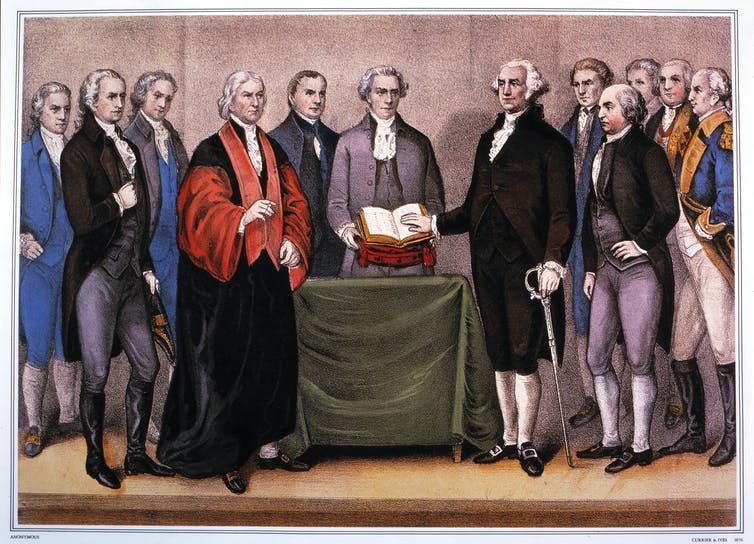 George Washington taking the oath of office among almost a dozen men.