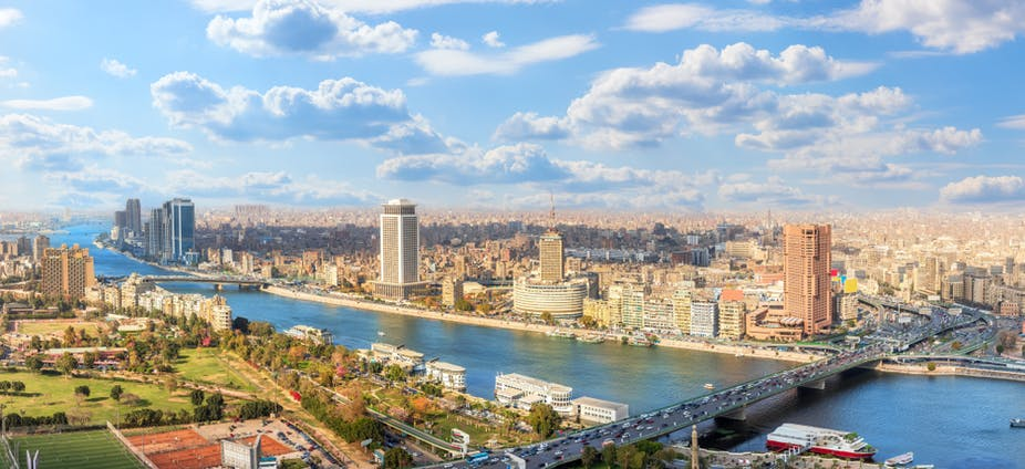 Cairo downtown panorama, view on the Nile and bridges, Egypt.