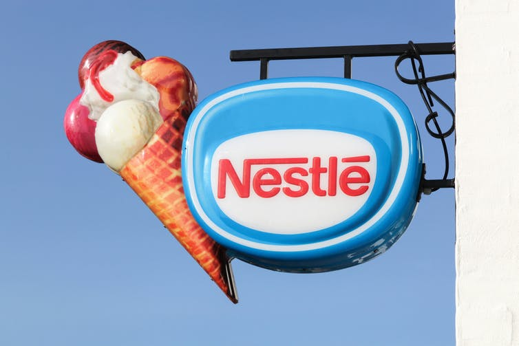 Nestle logo with an ice cream