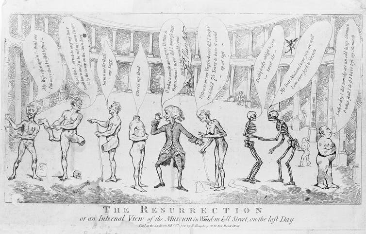 Sketch depicting revitalised skeletons and amputees searching for their missing limbs.