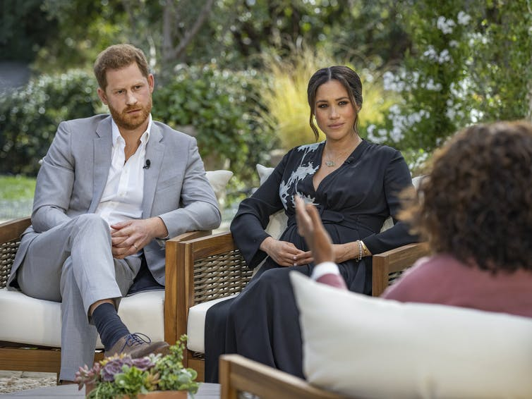 Harry, Meghan and Orprah during their interview.