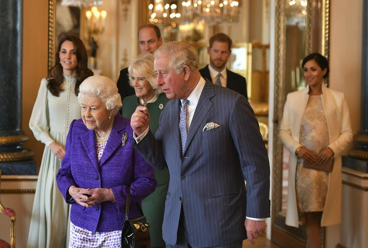 The queen, Prince Charles with other senior members of the royal family in 2019.