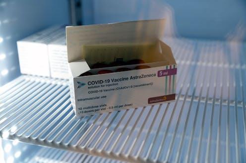 A box containing vials of AstraZeneca vaccine.