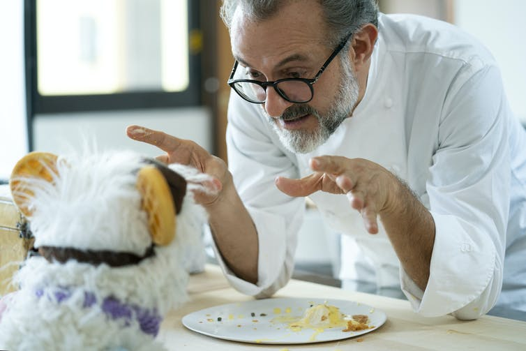 Chef talks over an empty plate to a puppet.