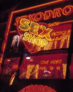 neon signs for a sex shop