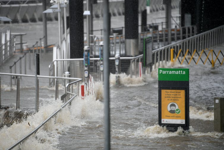 Floodwaters inundate part of Parramatta in Sydney.