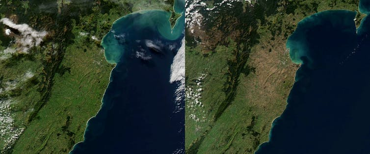 Satellite images of New Zealand, showing two years and the impact of drought.
